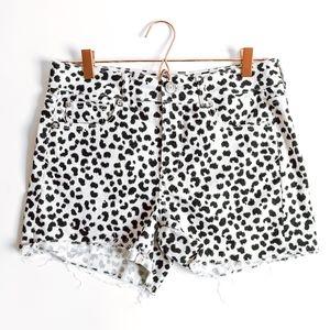 AEO Leopard Print Distressed Hem Shorts